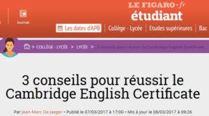 Notre lycée offre son expertise à la préparation du Cambridge English Certificate