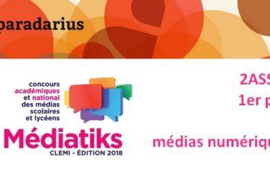 les élèves de 2ASSP1 ont reçu le 1er prix du concours de journaux scolaires MEDIATIKS de l'académie de Créteil